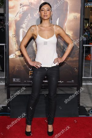 """Actress Mei Melancon arrives at the world premiere of """"Riddick"""" at the Mann Village Westwood Theater on in Los Angeles"""