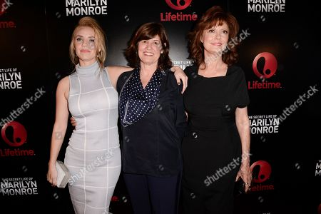 """Stock Image of Actress Kelli Garner, left, Lifetime SVP, Original Movies Tanya Lopez, and actress Susan Sarandon attend the world premiere of the television miniseries """"The Secret Life of Marilyn Monroe"""" in Los Angeles on"""