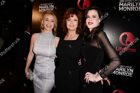 "Actress Kelli Garner, left, actress Susan Sarandon, center, and executive producer Keri Selig attend the world premiere of the television miniseries ""The Secret Life of Marilyn Monroe"" in Los Angeles on"