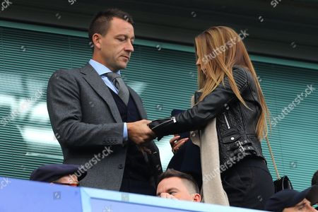 Former Chelsea captain, John Terry (now of Aston Villa) with his wife, Toni - Chelsea v Arsenal, Premier League, Stamford Bridge, London - 17th September 2017.