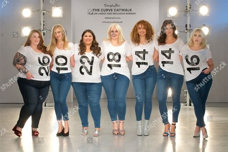 Tess Holliday, Kelly Knox, Callie Thorpe, Felicity Hayward, Sonny Turner, Ali Tate and Hayley Hasselhoff on the catwalk