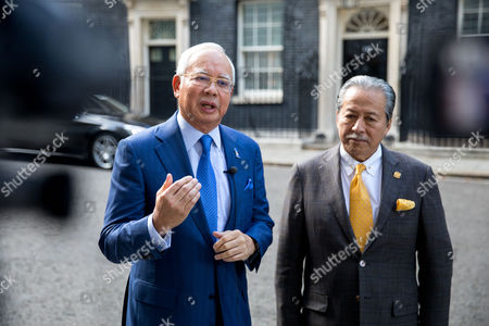 Malaysian Prime Minister Najib Tun Razak and Malaysian Minister of Foreign Affairs Anifah Aman speak to media in Downing Street following a meeting with British Prime Minister Theresa May