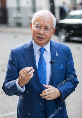 Malaysian Prime Minister Najib Tun Razak speaks to media in Downing Street following a meeting with British Prime Minister Theresa May
