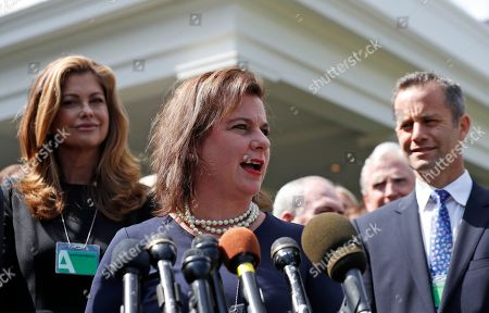 Stock Image of Kathy Ireland, Marjorie Dannenfelser, Kirk Cameron. Marjorie Dannenfelser, center, president of the Susan B. Anthony List, Kathy Ireland, left, actor Kirk Cameron, right, and other anti-abortion advocates, speak with the media after a meeting with officials of the Trump administration at the White House, in Washington