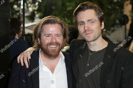 Janus Metz, Sverrir Gudnason. Director Janus Metz, left, and actor Sverrir Gudnason pose for photographers upon arrival at the premiere of the film 'Borg Vs McEnroe' in London