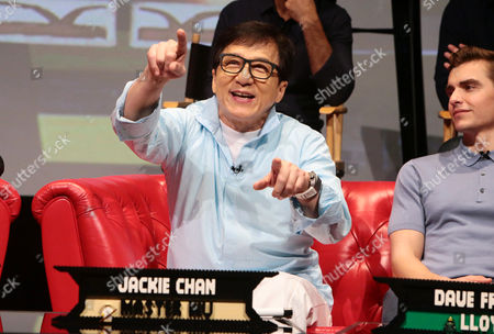 Jackie Chan, voice of Master Wu / Mr. Liu, and Dave Franco, voice of Lloyd, at The LEGO Ninjago Movie Global Press Conference