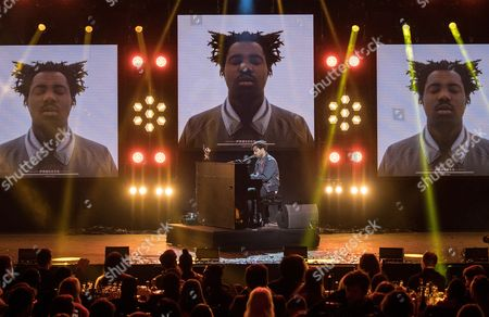 Sampha on stage after being announced as the winner of the Mercury Prize