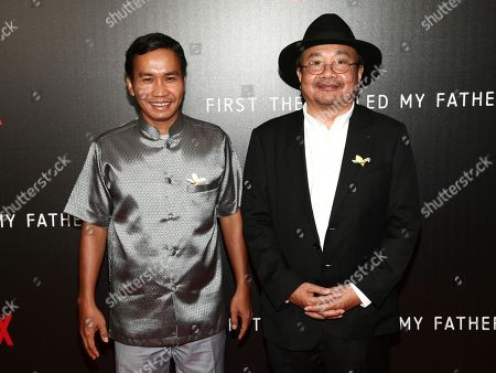 """Kompheak Phoeung, Rithy Panh. Kompheak Phoeung, left, and Rithy Panh, right, attend a special screening of Netflix's""""First They Killed My Father"""" at the DGA theater, in New York"""