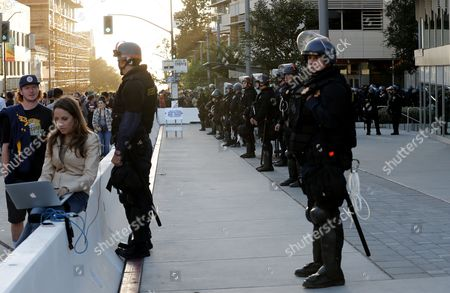 California Highway Patrol in riot gear secure a closed area around the UC Berkeley campus where conservative speaker Ben Shapiro is due to speak in Zellerbach Hall, at the university's campus in Berkeley, California, USA, 14 September 2017.