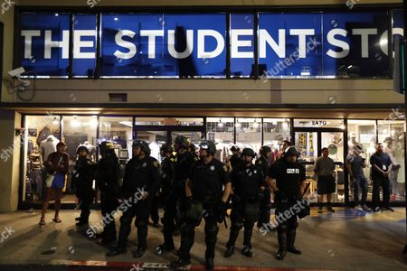 Berkeley Police stand guard in front of a student store on the University of Berkeley California's campus as conservative speaker Ben Shapiro speaks in the Zellerbach Hall, at the university in Berkeley, California, USA, 14 September 2017