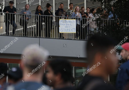 Counter-protestors rally at the UC Berkeley to protest conservative speaker Ben Shapiro speaking in the Zellerbach Hall, at the University of Berkeley California campus in Berkeley, California, USA, 14 September 2017