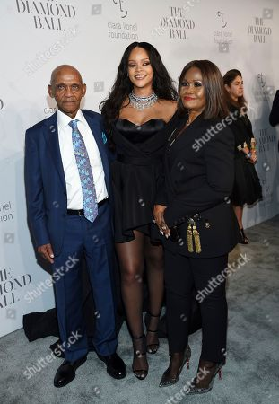 Lionel Braithwaite, Rihanna, Monica Fenty. Rihanna, center, poses with her grandfather Lionel Braithwaite and mother Monica Fenty at the 3rd Annual Diamond Ball at Cipriani Wall Street, in New York