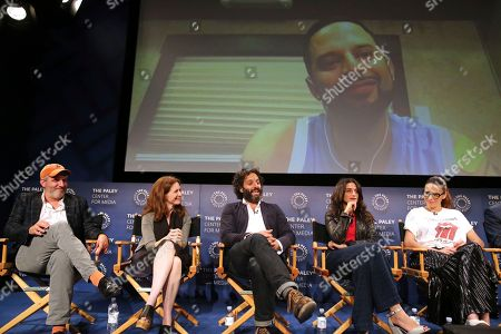 """Mark Levin, Jennifer Flackett, Jason Mantzoukas, Jenny Slate, Jessi Klein, Nick Kroll. Executive producers Mark Levin and Jennifer Flackett and Jason Mantzoukas, Jenny Slate and Jessi Klein seen at the screening and Q&A of Netflix """"Big Mouth"""" with co-creator Nick Kroll on screen via Skype at the Paley Center, in Beverly Hills, Calif"""