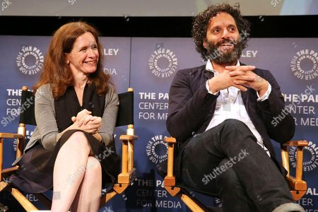 """Jennifer Flackett, Jason Mantzoukas. Executive producer Jennifer Flackett and Jason Mantzoukas seen at the screening and Q&A of Netflix """"Big Mouth"""" at the Paley Center, in Beverly Hills, Calif"""