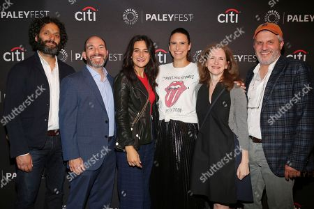 """Jason Mantzoukas, Andrew Goldberg, Jenny Slate, Jessi Klein, Jennifer Flackett, Mark Levin. Jason Mantzoukas, co-creator Andrew Goldberg, Jenny Slate, Jessi Klein and executive producers Jennifer Flackett and Mark Levin seen at the screening and Q&A of Netflix """"Big Mouth"""" at the Paley Center, in Beverly Hills, Calif"""