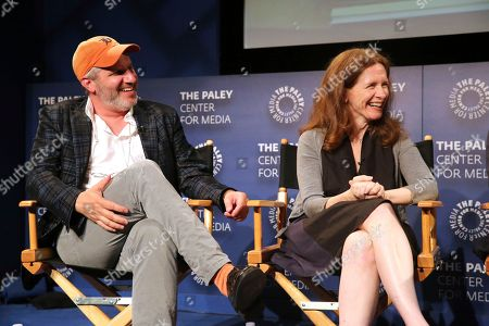 """Mark Levin, Jennifer Flackett. Executive producers Mark Levin and Jennifer Flackett seen at the screening and Q&A of Netflix """"Big Mouth"""" at the Paley Center, in Beverly Hills, Calif"""