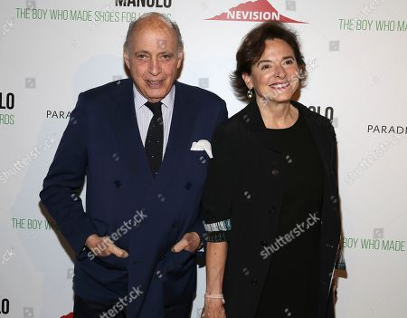 """Reinaldo Herrera, Alejandra Cicognani. Reinaldo Herrera and Alejandra Cicognani attend the world premiere of, """"Manolo: The Boy Who Made Shoes For Lizards"""", hosted by Manolo Blahnik and The Cinema Society, at The Frick Collection, in New York"""