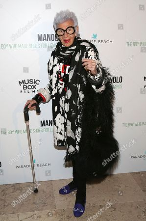 """Iris Apfel attends the world premiere of, """"Manolo: The Boy Who Made Shoes For Lizards"""", hosted by Manolo Blahnik and The Cinema Society, at The Frick Collection, in New York"""
