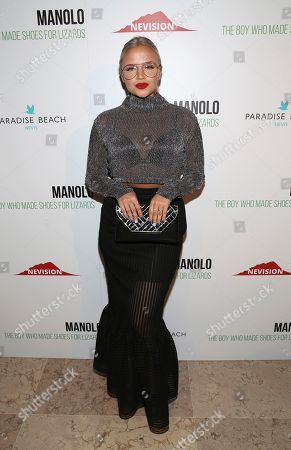 "Actress Veronika Dash attends the world premiere of, ""Manolo: The Boy Who Made Shoes For Lizards"", hosted by Manolo Blahnik and The Cinema Society, at The Frick Collection, in New York"