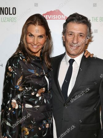 "Whitney Fairchild, Nacho Ramos. Whitney Fairchild and Nacho Ramos attend the world premiere of, ""Manolo: The Boy Who Made Shoes For Lizards"", hosted by Manolo Blahnik and The Cinema Society, at The Frick Collection, in New York"