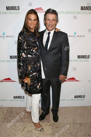 "Stock Picture of Whitney Fairchild, Nacho Ramos. Whitney Fairchild and Nacho Ramos attend the world premiere of, ""Manolo: The Boy Who Made Shoes For Lizards"", hosted by Manolo Blahnik and The Cinema Society, at The Frick Collection, in New York"