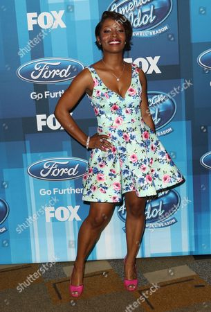 "LaToya London arrives at the ""American Idol"" farewell season finale at the Dolby Theatre, in Los Angeles"