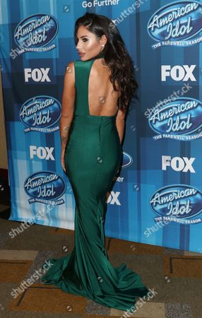 """Mikalah Gordon arrives at the """"American Idol"""" farewell season finale at the Dolby Theatre, in Los Angeles"""