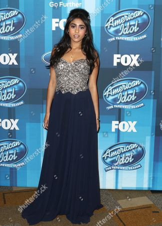 """Sonika Vaid arrives at the """"American Idol"""" farewell season finale at the Dolby Theatre, in Los Angeles"""