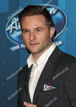 "Blake Lewis arrives at the ""American Idol"" farewell season finale at the Dolby Theatre, in Los Angeles"