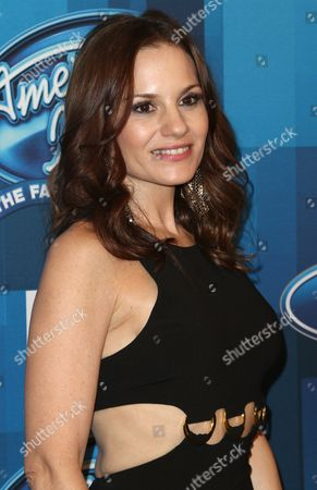 "Stock Picture of Kara DioGuardi arrives at the ""American Idol"" farewell season finale at the Dolby Theatre, in Los Angeles"