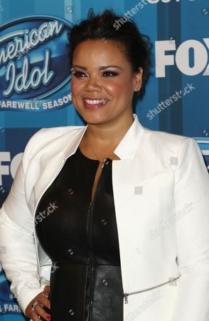 "Kimberley Locke arrives at the ""American Idol"" farewell season finale at the Dolby Theatre, in Los Angeles"