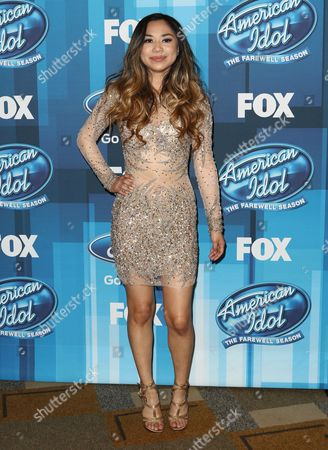 """Jessica Sanchez arrives at the """"American Idol"""" farewell season finale at the Dolby Theatre, in Los Angeles"""