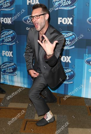 """Bo Bice arrives at the """"American Idol"""" farewell season finale at the Dolby Theatre, in Los Angeles"""