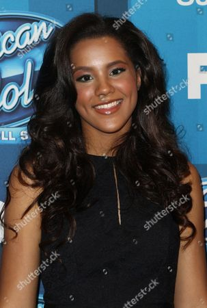 """Tristan McIntosh arrives at the """"American Idol"""" farewell season finale at the Dolby Theatre, in Los Angeles"""
