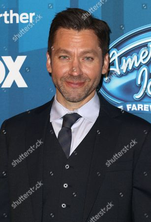 """Michael Weston arrives at the """"American Idol"""" farewell season finale at the Dolby Theatre, in Los Angeles"""