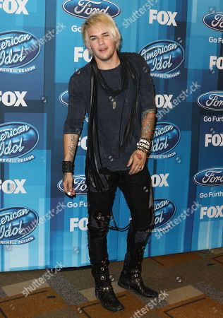 "James Durbin arrives at the ""American Idol"" farewell season finale at the Dolby Theatre, in Los Angeles"