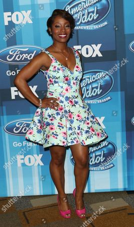 "Stock Picture of LaToya London arrives at the ""American Idol"" farewell season finale at the Dolby Theatre, in Los Angeles"