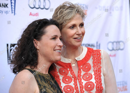 """Lara Embry and Jane Lynch arrive at the """"Backstage At The Geffen"""" Fundraiser at the Geffen Playhouse on in Los Angeles"""