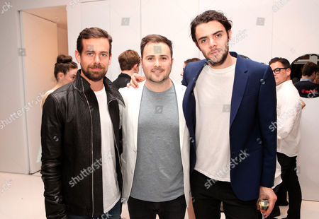 Jack Dorsey, David Oliver Cohen and Tanner Cohen seen at the 'Psychos' by Babe Walker Book Party at Alice and Olivia, in New York, New York