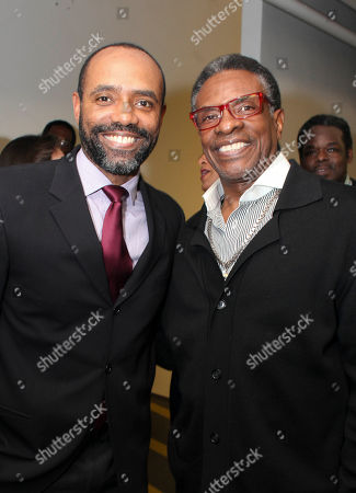 """Stock Image of From left, cast member Nathaniel Stampley and actor Keith David pose backstage after the opening night performance of """"The Gershwins' Porgy and Bess"""" at the Center Theatre Group/Ahmanson Theatre, in Los Angeles, Calif"""