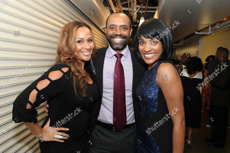 "From left, actress Kiki Haynes and cast members Nathaniel Stampley and Alicia Hall Moran pose backstage after the opening night performance of ""The Gershwins' Porgy and Bess"" at the Center Theatre Group/Ahmanson Theatre, in Los Angeles, Calif"