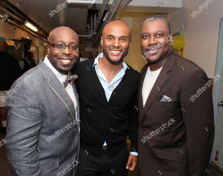 """From left, cast member James Earl Jones II, actor Kenny Lattimore and cast member Kingsley Leggs pose backstage after the opening night performance of """"The Gershwins' Porgy and Bess"""" at the Center Theatre Group/Ahmanson Theatre, in Los Angeles, Calif"""