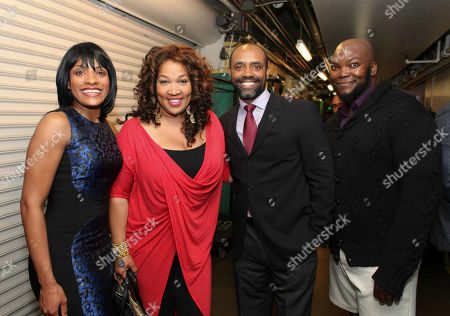 "From left, cast member Alicia Hall Moran, actress Kym E. Whitley and cast members Nathaniel Stampley and Dwelvan David pose backstage after the opening night performance of ""The Gershwins' Porgy and Bess"" at the Center Theatre Group/Ahmanson Theatre, in Los Angeles, Calif"