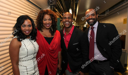 """From left, cast member Sumayya Ali, Kym E. Whitley and cast members David Hughey and Nathaniel Stampley pose backstage after the opening night performance of """"The Gershwins' Porgy and Bess"""" at the Center Theatre Group/Ahmanson Theatre, in Los Angeles, Calif"""