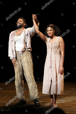 Stock Photo of From left, cast members Nathaniel Stampley and Alicia Hall Moran take their bows during the curtain call for the opening night performance of 'The Gershwins' Porgy and Bess' at the Center Theatre Group/Ahmanson Theatre, in Los Angeles, Calif