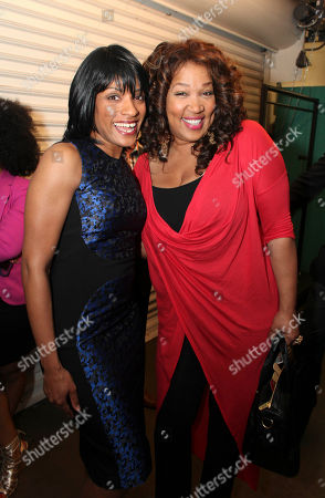 "Stock Image of From left, cast member Alicia Hall Moran and Kym E. Whitley pose backstage after the opening night performance of ""The Gershwins' Porgy and Bess"" at the Center Theatre Group/Ahmanson Theatre, in Los Angeles, Calif"