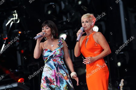 Pam Tillis and Lorrie Morgan perform the National Anthem at LP Field on in Nashville Tennessee