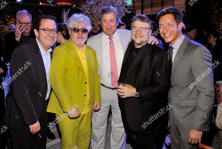 """Pedro Almodovar, second from left, director of """"I'm So Excited,"""" poses with, left to right, Sony Classics co-presidents Michael Barker and Tom Bernard, director Guillermo Del Toro and Film Independent co-president Sean McManus at the after party of the 2013 Los Angeles Film Festival's premiere of the film at the Regal Cinemas at LA LIVE on"""