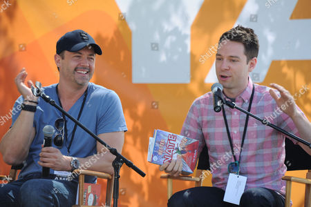 Stephen Pastis, at left, and Tim Federle at the 2013 LA Times Festival of Books at the University of Southern California campus, in Los Angeles