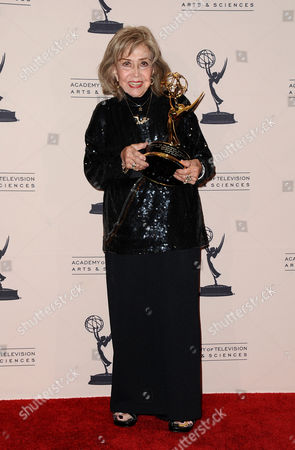 June Foray poses in the press room at the 2013 Primetime Creative Arts Emmy Awards, on at Nokia Theatre L.A. Live, in Los Angeles, Calif